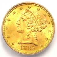 1885-S LIBERTY GOLD HALF EAGLE $5 COIN - CERTIFIED ICG MINT STATE 65 - $2,690 VALUE