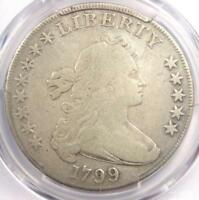 1799 DRAPED BUST SILVER DOLLAR $1 COIN - CERTIFIED PCGS FINE DETAIL -