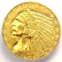 1909-D INDIAN GOLD HALF EAGLE $5 COIN - ICG MINT STATE 63 -  IN MINT STATE 63 - $1,060 VALUE