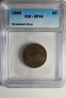 1865 ICG 2 CENT PIECE STREAKED ALLOY EXTRA FINE  40 FANCY 5