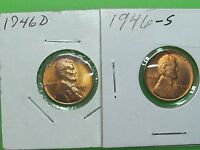 LOT OF 2 1946 D  & S BU UNCIRCULATED LINCOLN WHEAT CENT PENNYS