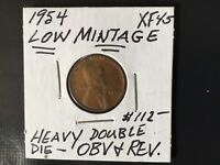1954 WHEAT CENT HEAVY DOUBLE DIE OBVERSE AND REVERSE WITH LOW MINTAGE