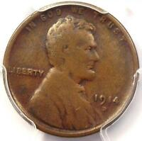 1914-D LINCOLN WHEAT CENT 1C - PCGS VG10 -  KEY DATE CERTIFIED PENNY
