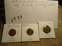 1919-S  1929-D 1930 // VG-F //  LINCOLN WHEAT  CENTS // READ SHIPPING //  1977