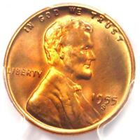 1955-S LINCOLN WHEAT CENT 1C PENNY - PCGS MINT STATE 67 RD PLUS GRADE - $575 VALUE