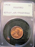 1926 LINCOLN WHEAT CENT MINT STATE 65 RD OLD GREEN HOLDER