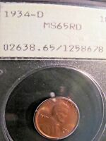 1934  D LINCOLN WHEAT CENT MINT STATE 65 RD