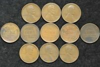 1909 P VDB LOT OF 11 LINCOLN WHEAT PENNIES