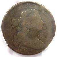 1804 DRAPED BUST LARGE CENT 1C - CERTIFIED PCGS VG DETAIL -  KEY DATE COIN