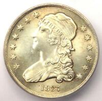 1837 CAPPED BUST QUARTER 25C - CERTIFIED ICG AU55 DETAIL -  EARLY DATE COIN
