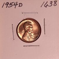 1954 D LINCOLN WHEAT CENT 1638, GEM - FREE-SHIPPING