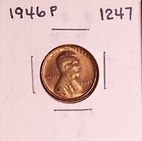 1946 P LINCOLN WHEAT CENT 1247, UNC-SPOTS -  SHIPS FREE
