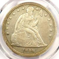 1846 SEATED LIBERTY SILVER DOLLAR $1 - PCGS EXTRA FINE  DETAILS -  CERTIFIED COIN