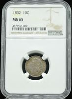 1832 CAPPED BUST 10C NGC MINT STATE 65