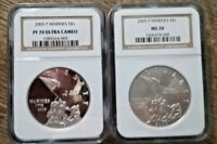 SET OF TWO 2005 P MARINE CORPS SILVER DOLLARS NGC MS70 & PF70