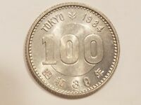 1964 JAPAN 100 YEN JAPANESE YEAR 39 SHOWA HIROHITO COIN SILVER OLYMPIC UNC MS