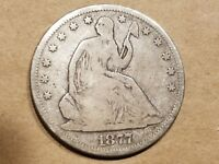 1877 S SEATED LIBERTY HALF DOLLAR 50 CENTS COIN 1/2 $1 SILVER NICE