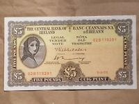 1975 IRELAND EIRE IRISH 5 POUND NOTE LAVERY 5 PUNT P 65C ABOUT UNCIRCULATED AU