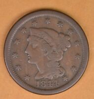 1844 LARGE CENT NICE  44/81 OVERDATE
