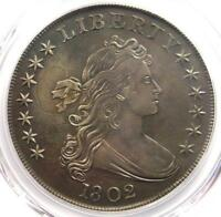 1802 DRAPED BUST SILVER DOLLAR $1 - PCGS AU DETAILS -   COIN IN AU