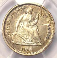 1861/0 SEATED LIBERTY HALF DIME H10C - CERTIFIED PCGS AU DETAILS -  DATE