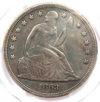 1863 SEATED LIBERTY SILVER DOLLAR $1 - PCGS EXTRA FINE  DETAILS -  CIVIL WAR DATE