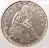 1864 SEATED LIBERTY SILVER DOLLAR $1 - NGC EXTRA FINE 45 EF45 -  CIVIL WAR DATE