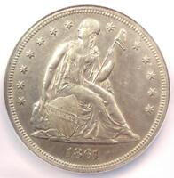1861 SEATED LIBERTY SILVER DOLLAR $1 - NGC AU DETAILS -  CIVIL WAR DATE