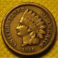 1860 INDIAN HEAD CENT. ALL LETTERS IN LIBERTY CAN BE SEEN. GOOD HEADBAND DETAIL.