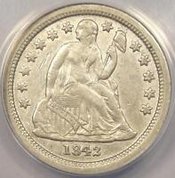 1842-O SEATED LIBERTY DIME 10C - ANACS AU50 DETAILS -  DATE CERTIFIED COIN