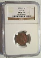 1888 INDIAN HEAD CENT  1888/7 VARIETY  NGC VF-35