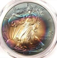 2014 TONED AMERICAN SILVER EAGLE DOLLAR $1 ASE - PCGS MINT STATE 69 - RAINBOW TONING COIN