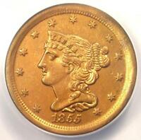 1855 BRAIDED HAIR HALF CENT 1/2C COIN - CERTIFIED ANACS AU50 DETAILS -