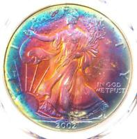 2002 TONED AMERICAN SILVER EAGLE DOLLAR $1 ASE - PCGS MINT STATE 67 - RAINBOW TONING COIN