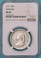 1921 MINT STATE 64 MISSOURI UNCIRCULATED SILVER EARLY COMMEMORATIVE HALF 10,428 MINTED2