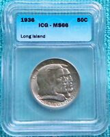 1936 MINT STATE 66 LONG ISLAND ONLY 81,826 MINTED CLASSIC COMMEMORATIVE SILVER HALF