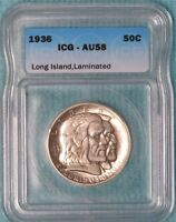 1936 AU-58 LAMINATION ERROR LONG ISLAND 81,826 MINTED CLASSIC COMMEMORATIVE
