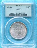 1936 MINT STATE 67 YORK COUNTY MAINE TERCENTENARY ONLY 25,015 MINTED SILVER HALF SMC 2