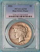 1921 AU-53 PEACE DOLLAR SILVER  ALMOST UNCIRCULATED $1 LOT 2