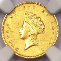 1855-O TYPE 2 INDIAN GOLD DOLLAR G$1 COIN - NGC AU DETAILS -