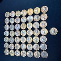 1949 LINCOLN WHEAT CENT PENNY FULL ROLL BU AND TONED