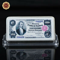 WR US $100 1891 SILVER CERTIFICATE DOLLAR COLORED SILVER CLAD BAR FOR COLLECTION