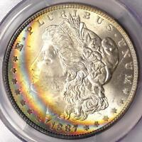 1887 TONED MORGAN SILVER DOLLAR $1 - CERTIFIED PCGS MINT STATE 64 -  RAINBOW TONING