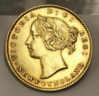 1872 NEWFOUNDLAND $2 DOLLAR GOLD COIN EF45 DETAILS JEWELRY MOUNT ON REVERSE