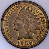 1906 INDIAN CENT CH UNC RB