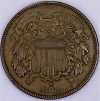1868 TWO CENT PIECE XF FULL STRONG WE