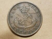 1852 BANK OF UPPER CANADA 1 PENNY TOKEN CANADIAN COIN NICE  DETAILS
