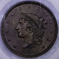 1838 LARGE CENT PCGS MS 63 BN STRONG FOR GRADE