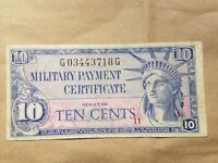 SERIES 591 10 CENT MILITARY PAYMENT CERTIFICATE MPC TEN CENT NOTE FINE