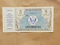 SERIES 472 5 CENTS MILITARY PAYMENT CERTIFICATE MPC NOTE FRACTIONAL CURRENCY AU
